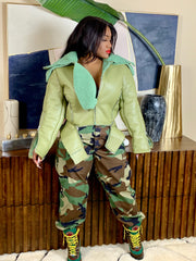 GOLDxTEAL olive green faux shearling jacket. Stylish green shearling jacket.