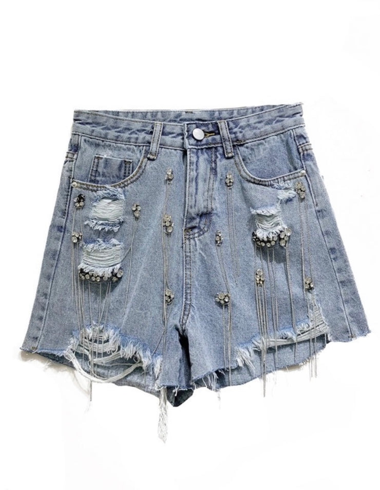 GoldxTeal hand embellished crystal and chain denim distressed shorts.