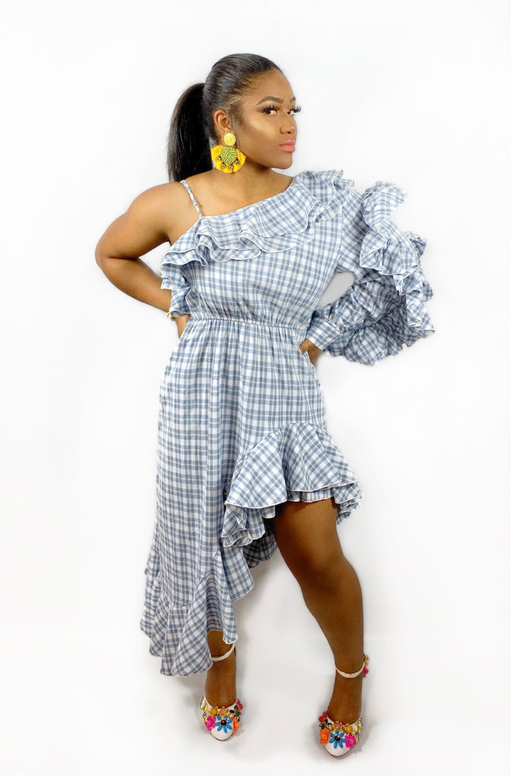 GoldxTeal plaid  ruffle dress. Chic and comfy ruffle asymmetrical dress with off shoulder sleeve, and ruffle sleeve.