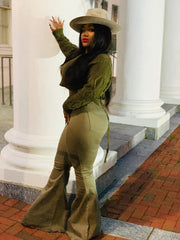 GOLDxTEAL Langston bell bottom jeans. Highwaist army green bell bottom jeans.