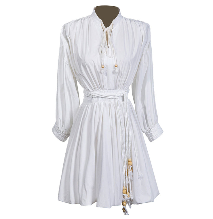 GoldxTeal white cotton mini dress with bubble skirt bottom and lantern style sleeves.