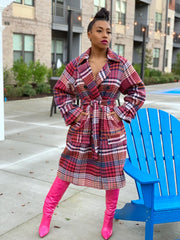 GOLDxTEAL gorgeous colorful plaid trench coat. Heavy thick trench coat in beautiful muted tones of pink, hot pink, blues, tan and cream.