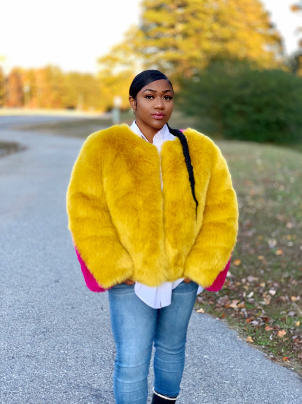 GOLDxTEAL Jolly Gold Faux Fur Coat. Luxurious gold and pink color block faux fur coat.