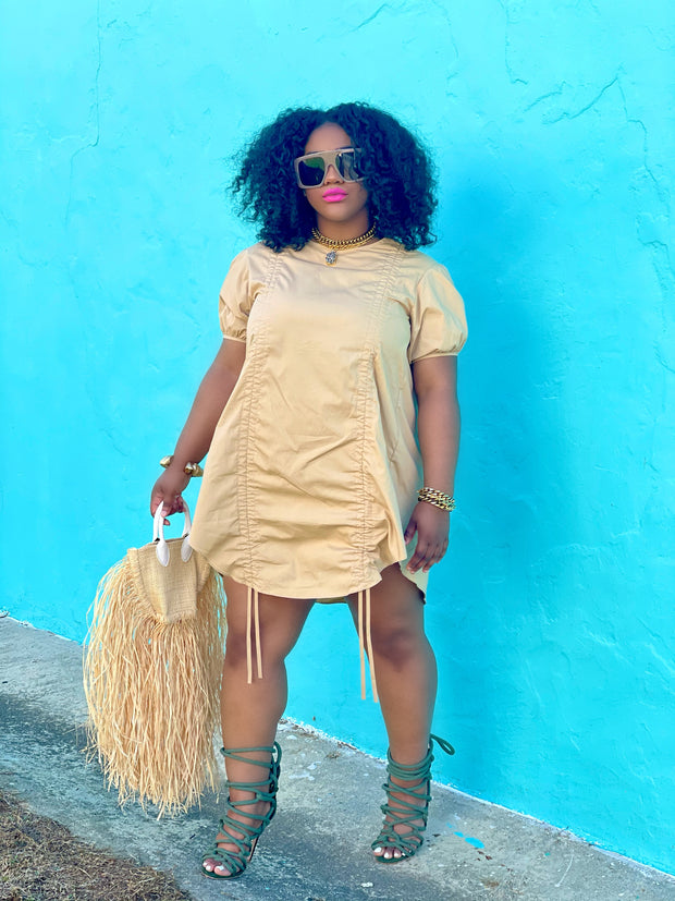 GOLDxTEAL ruched mini dress. Oversized mini dress with short puff sleeves.