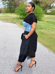 GOLDxTEAL Swing black Pants. Gorgeous black harem pants with asymmetrical sheer paneling.