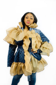 Gold x Teal ruffle quilted jacket. Gorgeous ruffle coat with belted waist.