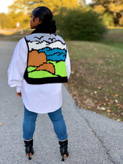 GOLDxTEAL Vision Sweater Vest. Colorful printed vest with a modern fashion forward design.