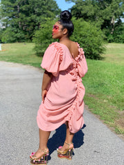 GOLDxTEAL Santorini pink ruffle dress. Gorgeous off the shoulder asymmetrical dress accented with ruffles.
