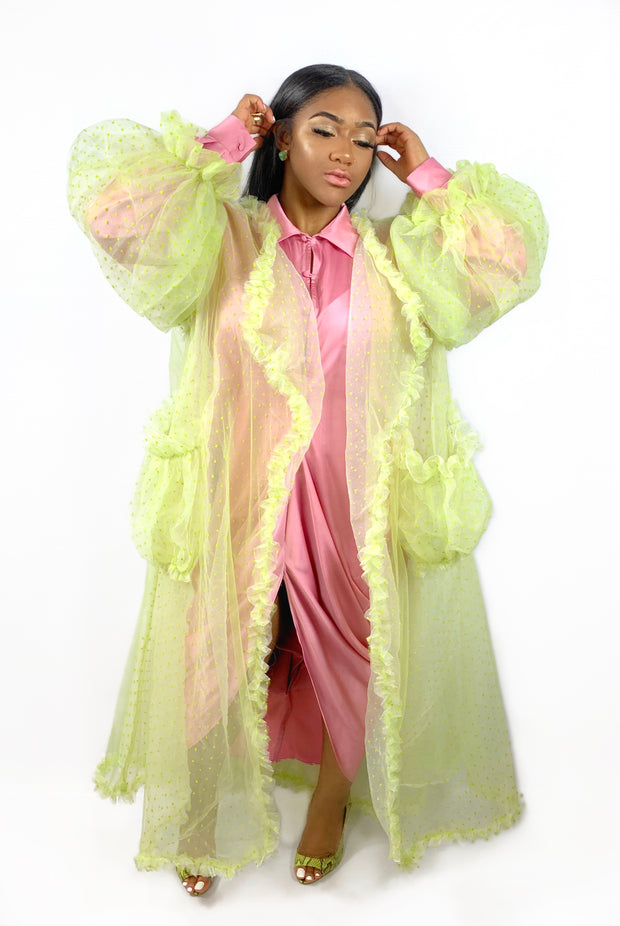 GoldxTeal lime green long tulle cardigan. Bright colored spring and summer cardigan.