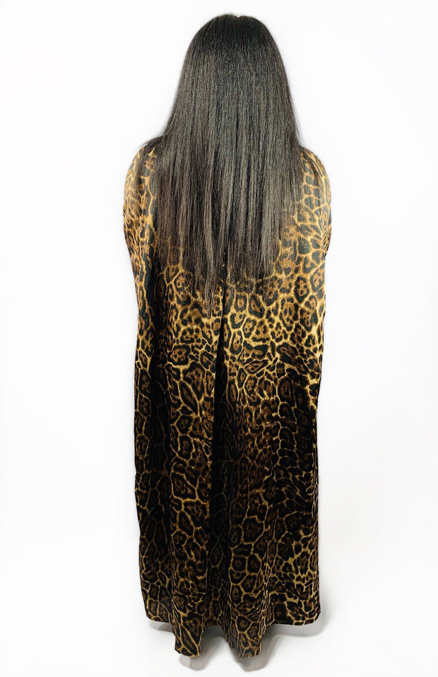 Gold x Teal leopard print long cloak.