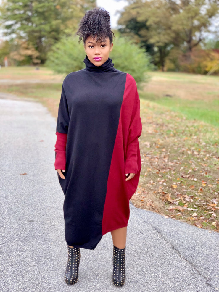 GOLDxTEAL Simon Burgundy Sweater Dress. Gorgeous asymmetrical sweater dress with black and burgundy color blocking.
