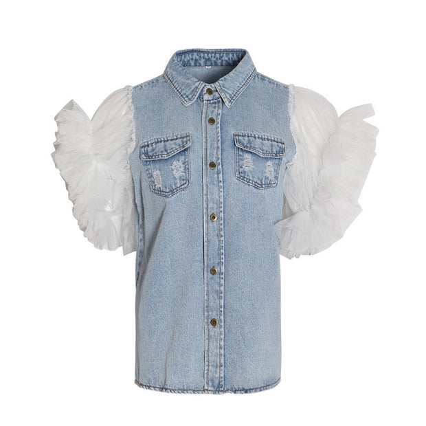 GOLDxTEAL Stand Out Denim Top. Statement denim top with ruffle sleeves.
