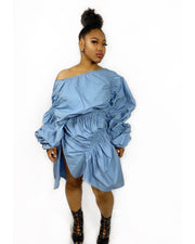 GoldxTeal over sized ruching dress with oversized sleeves. Eye catching shirt dress can be worn off the shoulder or on the shoulder.