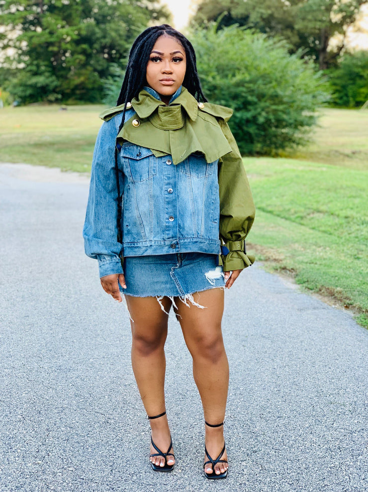 GOLDxTEAL denim and trench patchwork jacket.