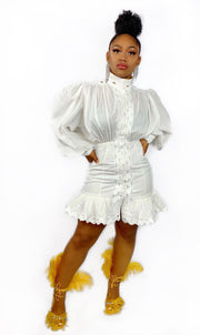 GoldxTeal modern white mini dress with puff sleeves and ruffle bottom.