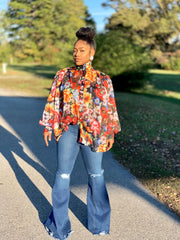 GOLDxTEAL Garden Palace Blouse. Roomy floral printed blouse with a high collar and lantern sleeves.