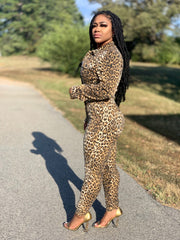 GOLDxTEAL Can't Wait Leopard Denim Jumpsuit. Gorgeous leopard denim jumpsuit with front pockets, front button up closure.