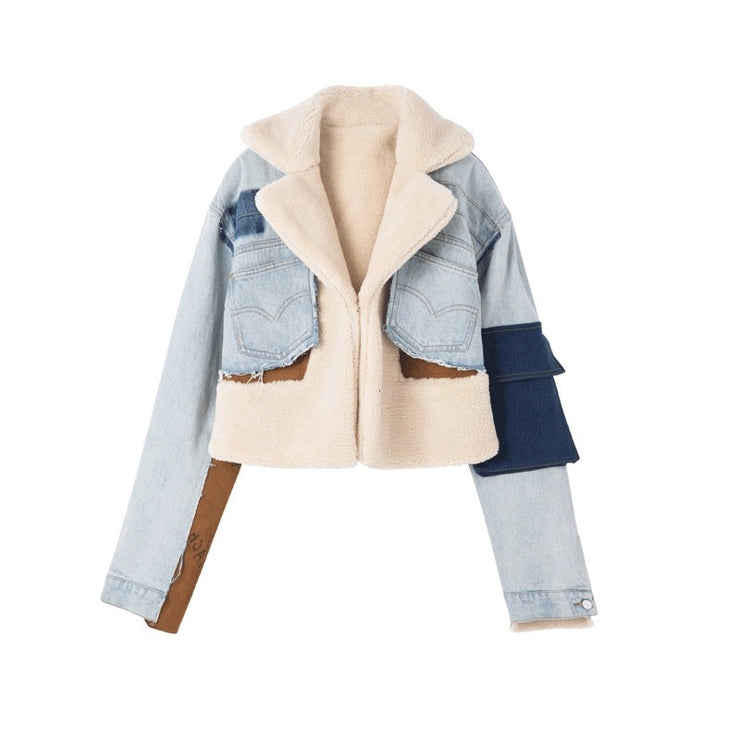 Denim Patchwork Faux Shearling Jacket