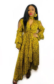 Gold x Teal yellow leopard ruffle dress. Ruffle asymmetrical dress with cold shoulder cut outs.
