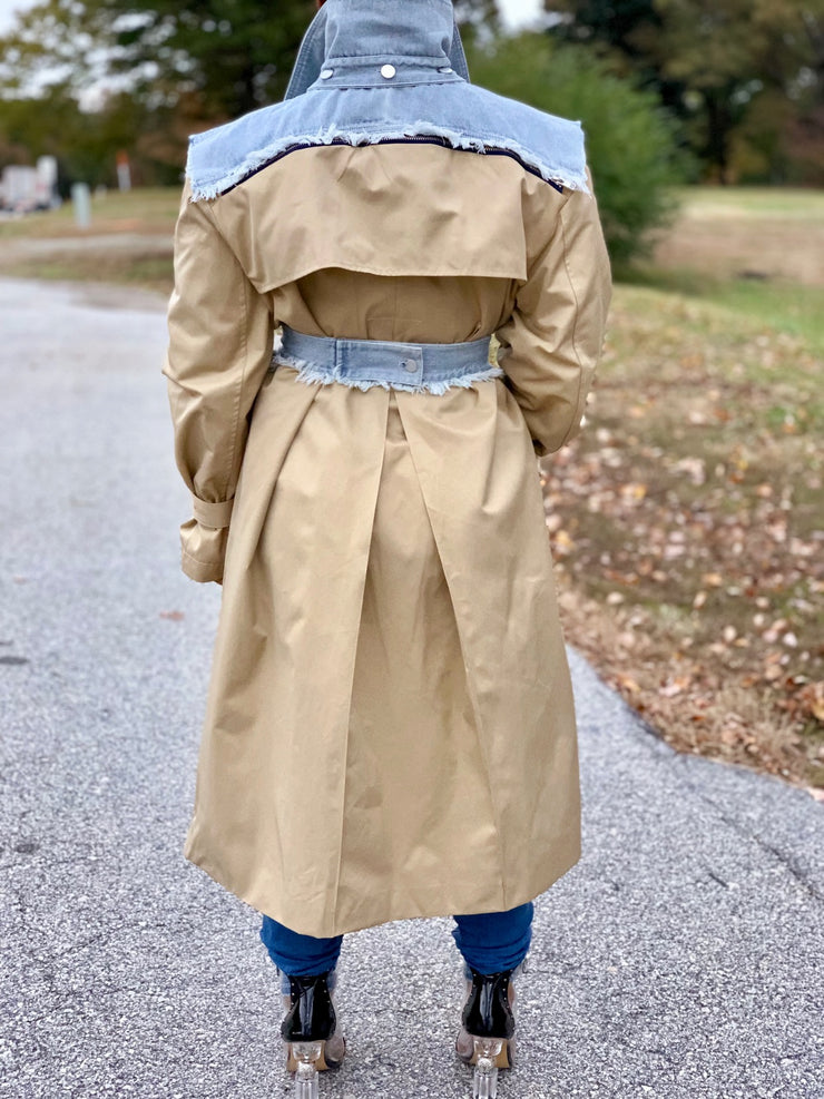 GOLDxTEAL Doc Denim Trench Coat. Modern trench coat accent with denim.