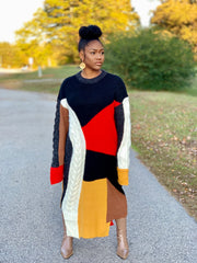 Gold x Teal Geo Patchwork Sweater. Women's runway style asymmetrical cut sweater dress.