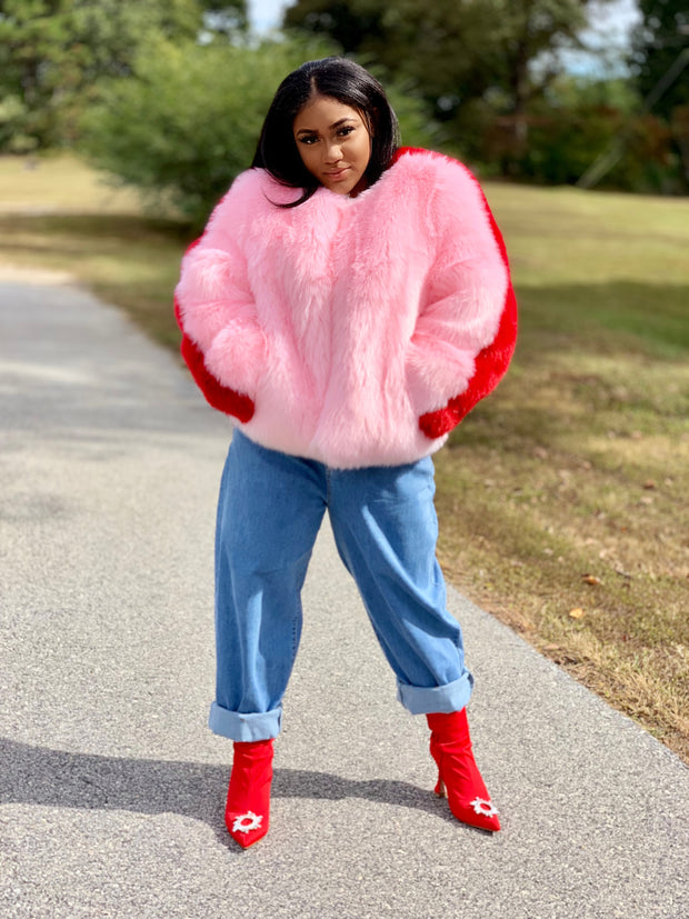 GOLDxTEAL Pink and red faux fur coat. Gorgeous faux fur waist with pink in the front and red in the back.
