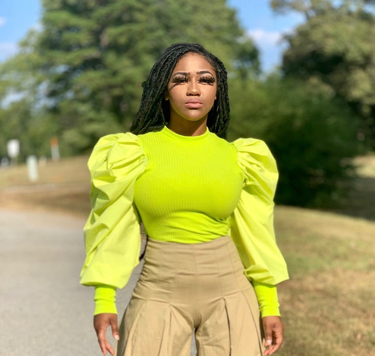 GOLDxTEAL lime puff sleeve top. Lime Puff sleeve top with mock neck.