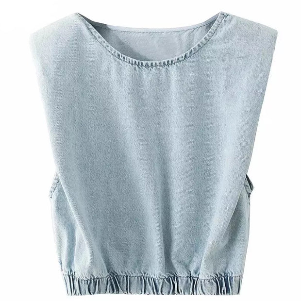 GOLDxTEAL Studio Denim Top. Stylish crop sleeveless denim top with shoulder pads.