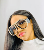 Gold x Teal Queen crystal over sized sunglasses. Statement making fashion sunglasses.