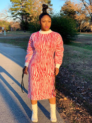 GOLDxTEAL Red Tiger Sweater Dress. Gorgeous red printed sweater dress with ruching sleeves with adjustable ties.