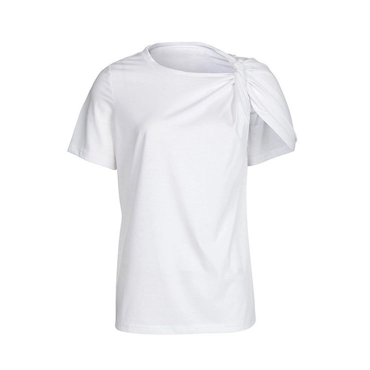 GoldxTeal white short sleeve fashion tshirt with one shoulder twist knot.