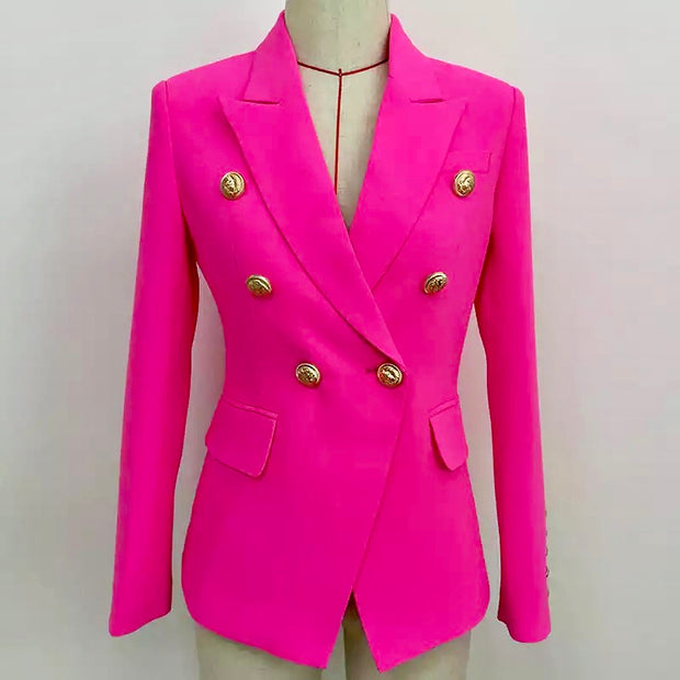 GOLDxTEAL On It Blazer. Gorgeous neon pink fitted double breasted blazer.
