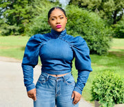 GOLDxTEAL Gwen Denim Top. Gorgeous sculptured denim top with puff sleeves, ruching and mock neck.