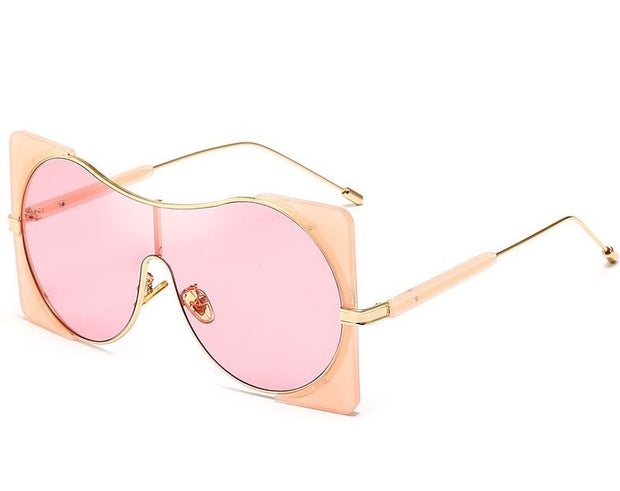Gold x Teal Zoey gold trimmed aviator sunglasses. Pink fashion over sized sunglasses.