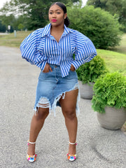GOLDxTEAL Bell Shirt. Gorgeous blue and white striped shirt with puff sleeves.