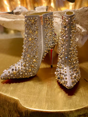GOLDxTEAL Nasty Studded Booties. Gorgeous silver and gold studded high heel booties.