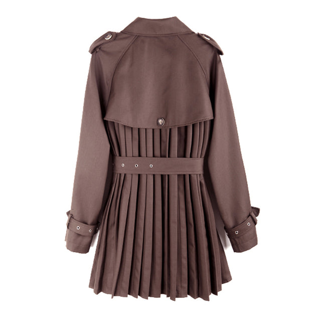 GOLDxTEAL Mousse Pleated Trench Coat. Gorgeous deep brown colored trench coat with a modern pleated body, waist belt and front button closure.