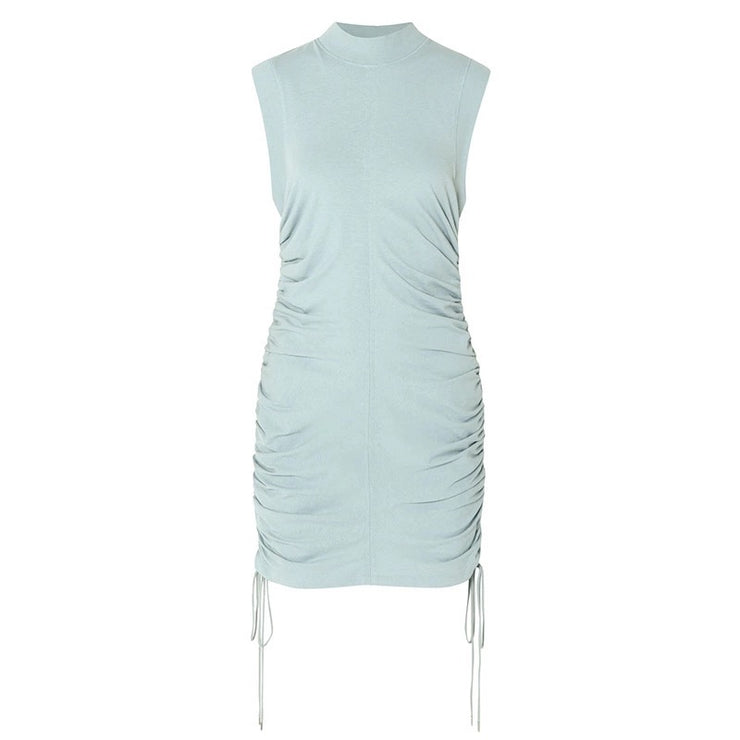 GOLDxTEAL ruching mini dress. Stylish and comfy mini dress with side ruching. Drawstring adjustable length.