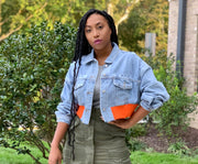 GOLDxTEAL crop denim jacket. Denim bomber style jacket with orange knit waist band.