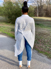 GOLDxTEAL White Pleated Fan Shirt.