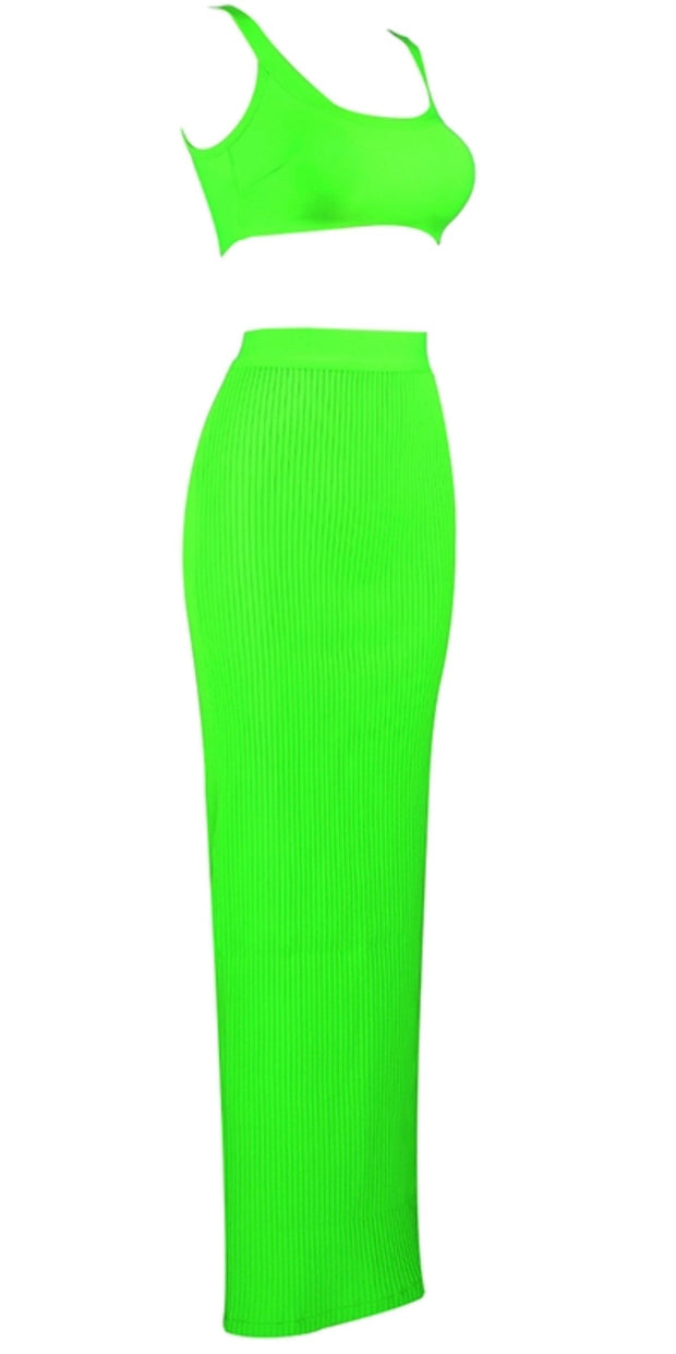 GoldxTeal neon green maxi bandage skirt set. Textured neon maxi skirt with tank style crop top.