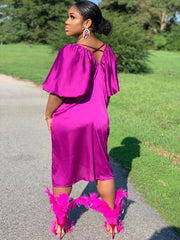 GOLDxTEAL Magent Crush Satin Dress. Vibrant magenta satin dress with puff sleeves and gather neckline.
