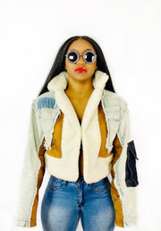GOLDxTEAL patchwork denim and faux shearling jacket.