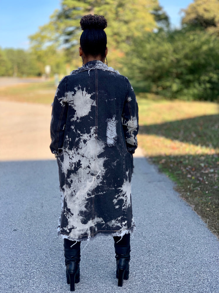 GOLDxTEAL No Breaks Denim Coat. Modern and fashion forward black tie dye coat with distressing and raw edges.