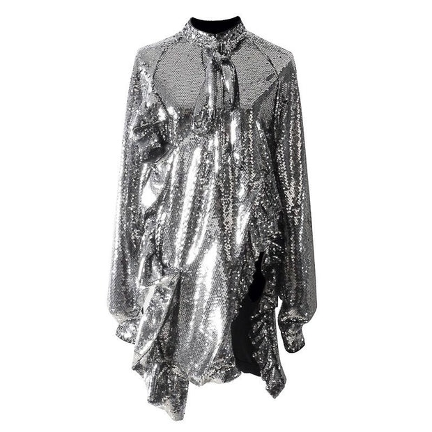 GOLDxTEAL Let's Dance Sequin Shirt. Gorgeous silver ruffle sequin blouse.