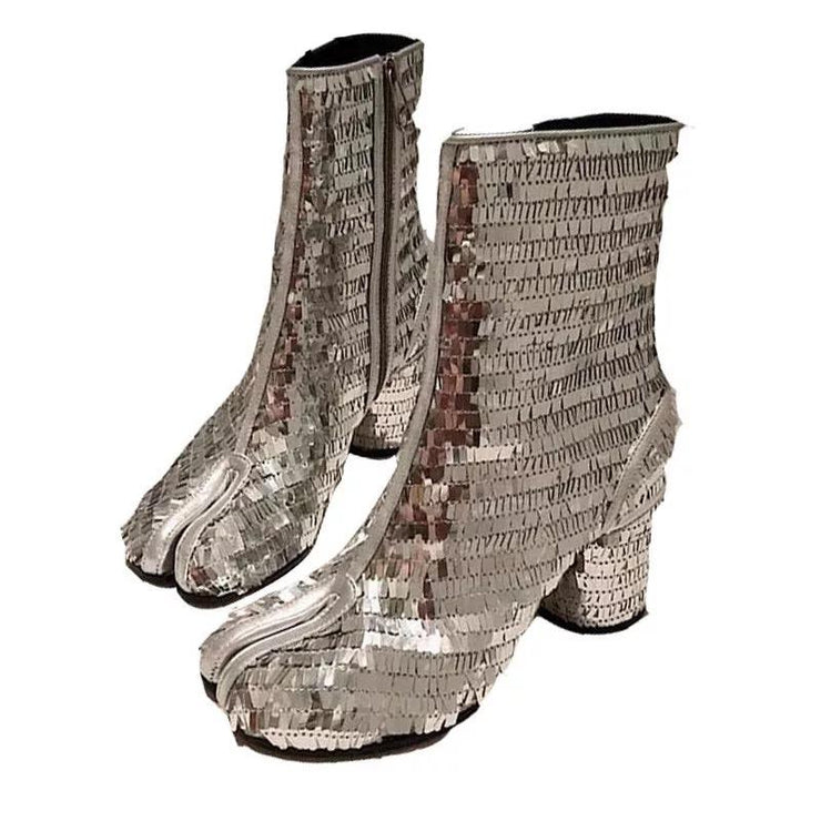 GOLDxTEAL Silver Tabi Boots.