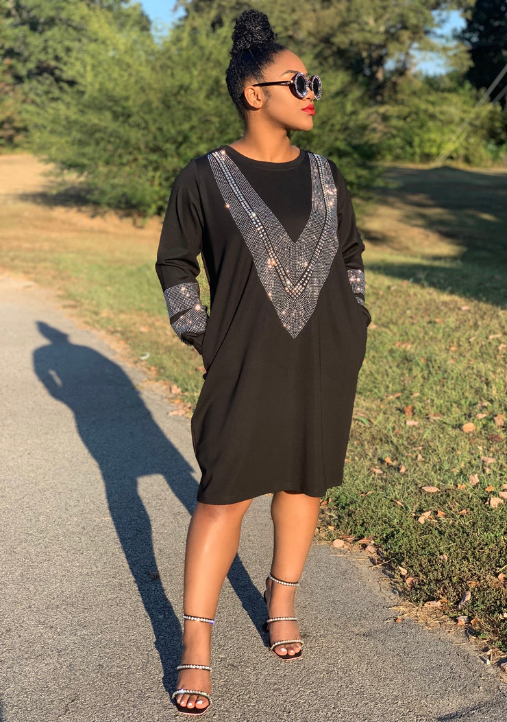 GOLDxTEAL Kimora Black Dress. Gorgeous black dress accented with crystal and rhinestones. Easy, simple and stunning dress with side pockets.