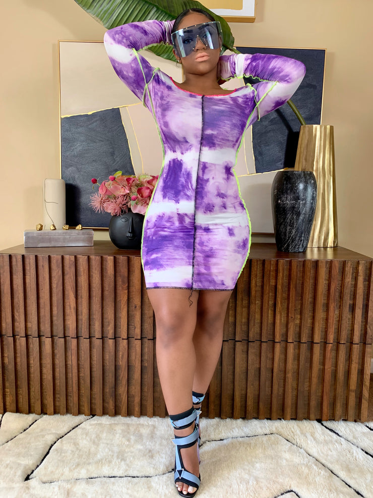 GOLDxTEAL Loose Ends Mini Dress. Bodycon purple tie dye mini dress.