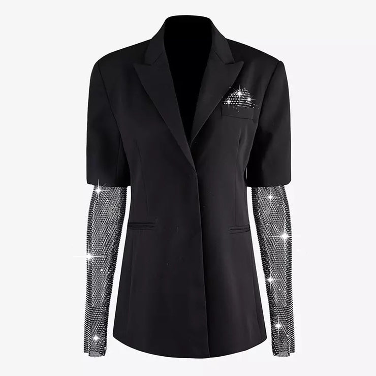 GOLDxTEAL Midnight Shine Blazer. Stylish black blazer with crystal netting sleeves.