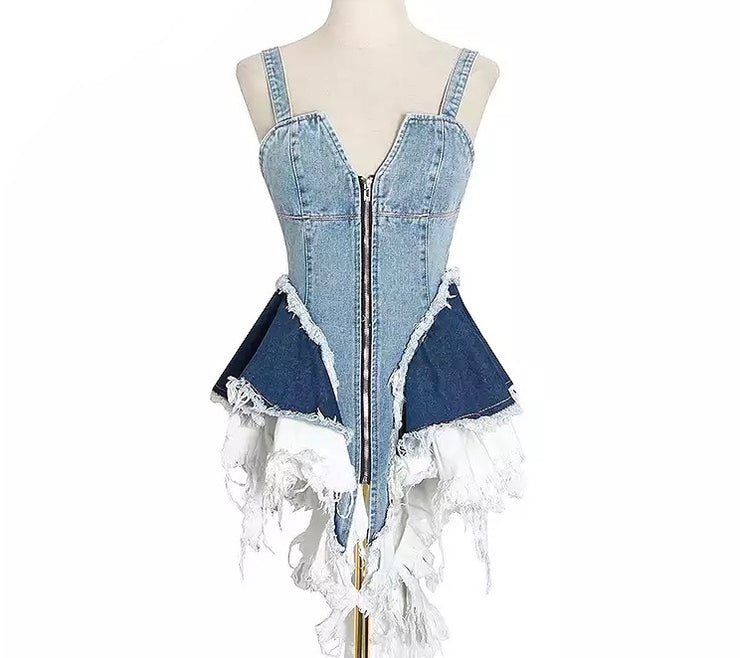 GOLDxTEAL Stormy Denim Top. Distressed denim top with shoulder straps.